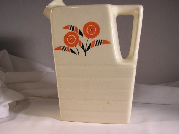 Vintage Retro Art Deco Universal Potteries Water or Juice Jug Pitcher 1940's Original