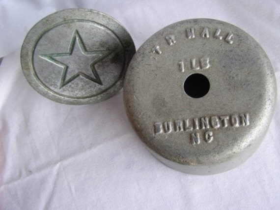 Antique Metal T R Hall of Burlington NC One  Pound Butter Mold Mould with Star Stamp1930's