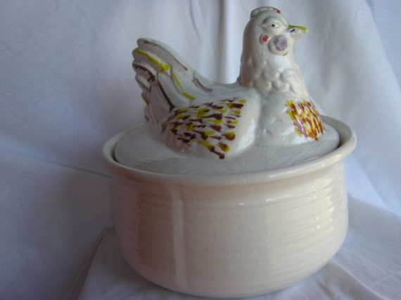 Vintage California Pottery Chicken On Nest Casserole By Fritzy