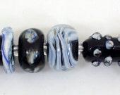 Bead Set - Blue Swirls on Black - Kelley Allen SRA