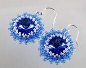 Elegance - Beadwoven Earrings - Sapphire