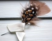 CANTERBURY Boutonniere with Brass Leaf and Antique Rose Feather