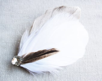 BLANCA Fascinator in Natural White/Lightest Ivory and Natural Brown Feathers and Vintage Rhinestone