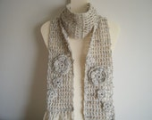 Oatmeal Color Scarf with Flower