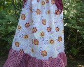Garnet and Gold and Flowers Pillowcase Dress