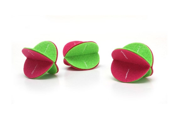 Felt Rollers Cat Toys - Three-pack (Watermelon Sparkle)