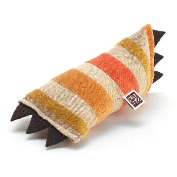 Small ModKicker Catnip Cat Toy (Orange-Gold Velvet Stripes)
