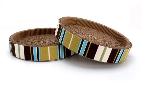 Circle Scratch - Cardboard Cat Scratcher Mod Stripe (blue, brown, cream and lime)