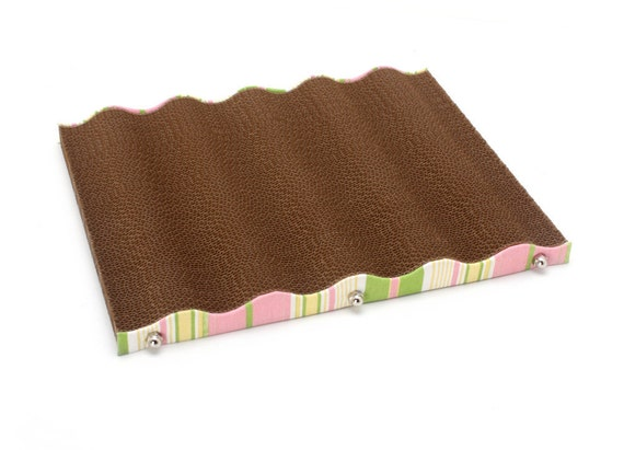 Wave Lounge  - Eco-friendly Cardboard Cat Scratcher and Lounge (Summer Sherbet Stripes)