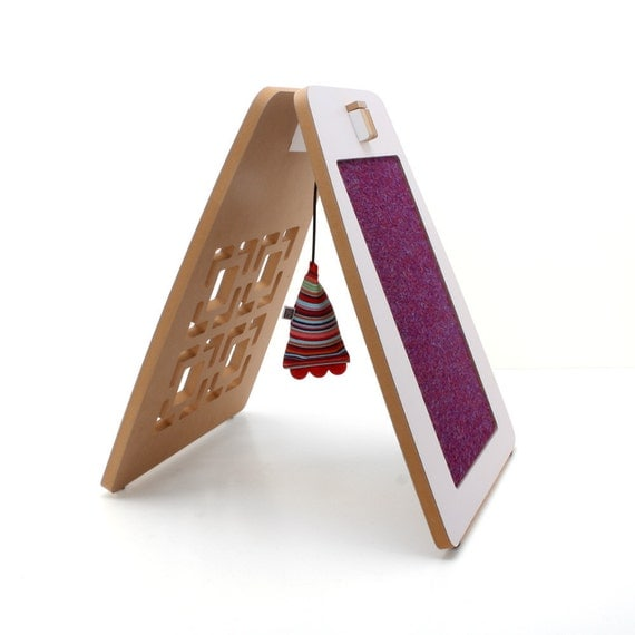 A-frame Modern Cat Scratcher and Play Station - White Laminate Square-in-Square with Purple Carpet Scratch Pad and Tutti Frutti Toy