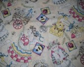 Quick as a Wink Bunny Rabbit, Cats, Bugs, and Flower Cotton Fabric Rebecca Carter