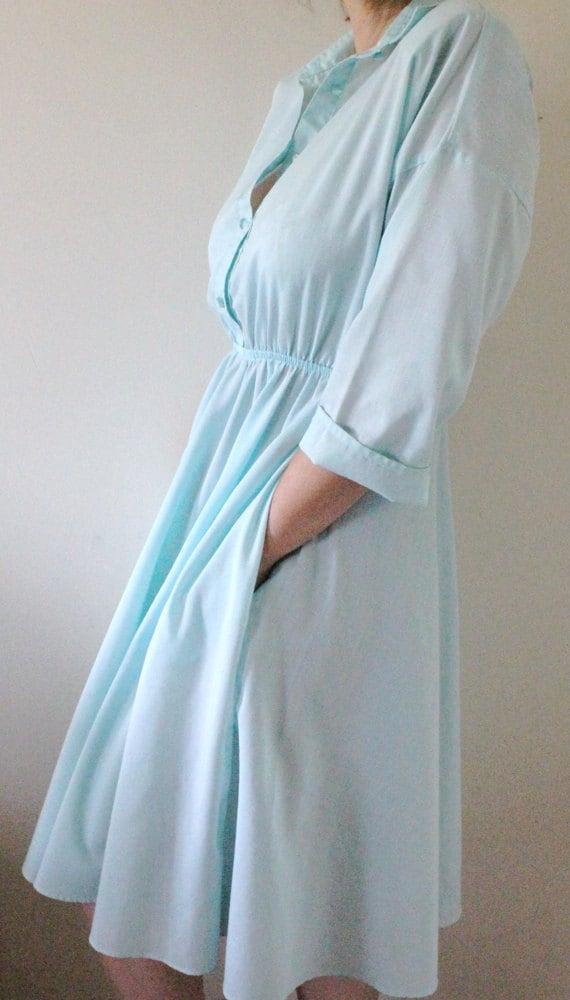 70's Aqua Shirt Dress M/L