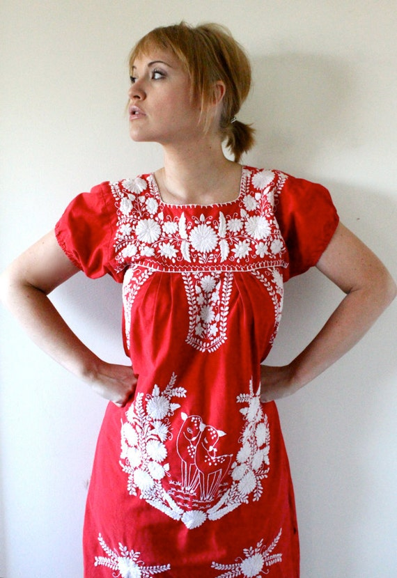 60's Woodland Embroidered Ethnic Dress S/M