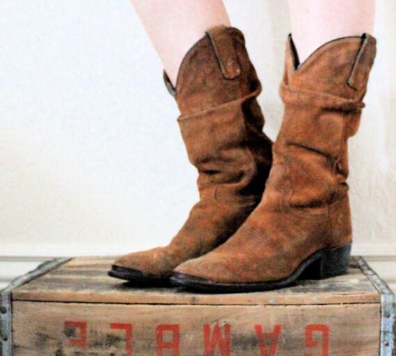 Vintage 70's Rustic Suede Leather Slouch Cowboy Boots Sz 8.5-9.5