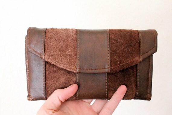 Vintage 70's Chocolate Suede Stripe Wallet