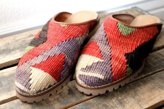 Vintage Turkish Kilim Woolen Shoes Sz 6/7