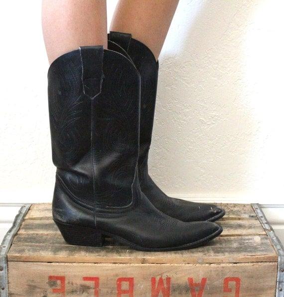 Vintage Black Leather Cowboy Boots Sz 10