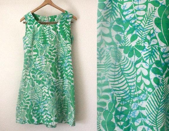 Vintage 1960's Green Leaf Print Scooter Dress Skorts S/M