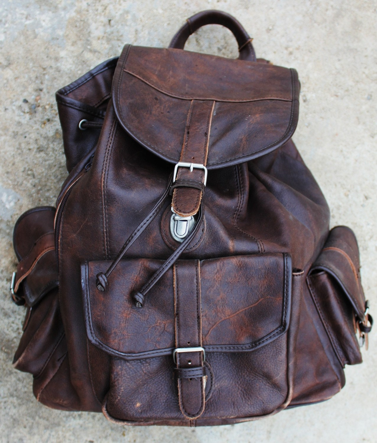 oversized vintage leather backpack. Black Bedroom Furniture Sets. Home Design Ideas