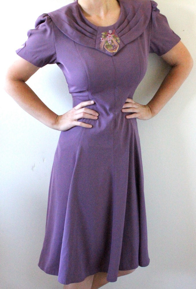 80u0026#39;s Purple English Garden Party Dress S/M