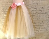 Marie's tutu. Shabby chic French style lined tutu in pale pink, ivory and antique gold.
