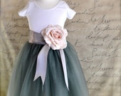 Grey Flower Girl tutu and new blush open rose clip-- sewn and long in your choice of length and ribbon color.