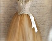 Golden brown and cream women's tutu. Creme Brulee over creamy beige tulle.