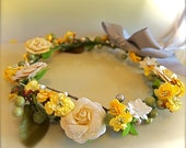 Old-fashioned Flower Girl Wreath. Grey, Yellow and Ivory Floral Wreath. Flower Girls, ballerinas, and birthday girls.
