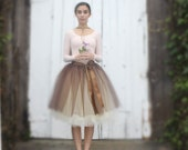 Brown and cream tutu for women.  Special soiree in chocolate cream ganache tulle.