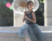 Grey  tulle skirt--tutu for women and teen girls.  An elegant classic skirt with silver/grey ribbon or black as shown. Unlined skirt