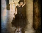 Black tutu skirt for women-- lined with black satin and a black satin ribbon waist.