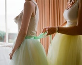 Women's tulle skirt.  Mint or yellow lined tea length tutu skirt. Carrie Bradshaw mint green tutu