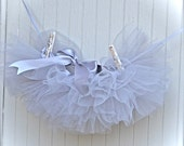 Newborn Tutu--dove grey tulle  Teeny, tiny and can be hung in the nursery. Shower gift, photo prop, newborn baby.