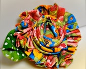 Colorful print large flower clip and pin. Monet's Garden. Ready to ship.