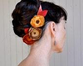 Rustic wedding fall hair clips bouquet on a persimmon velvet headband ribbon.