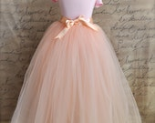 Vintage pink Flower Girl princess tutu-- blush pink tulle and ribbon.