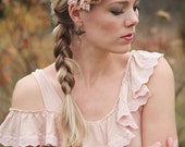 New color--Vintage Lace Headband for women or girls-- french lavender, taupe and grey.