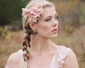 Vintage Lace Headband for women or girls-- rose, cream and ecru.
