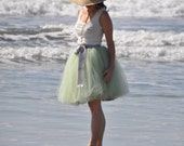 End of summer sale-- soft mint  green tulle tutu skirt.  A short  tulle lined custom length skirt. Ready to ship in size small.