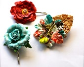 Vintage aqua, tomato red and print flower bobby pins and clip. Spring and summer accessory. Ready to ship. OAKK
