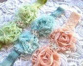 Shabby chic ivory, baby blue, blush pink, champagne, peach or mint stretch lace headband shabby chic blossoms. Old Hollywood glamour.