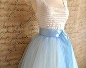 Baby blue  tulle tutu skirt lined in ivory. Soft elegance.