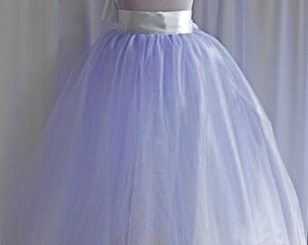 Lavender Flower Girl Tutu. Long sewn tulle skirt. Lavender and ivory, Lavender and white or all lavender.