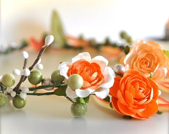 Tangerine Floral Wreath for Flower Girls. Orange, yellow, peach, ivory and sage green.