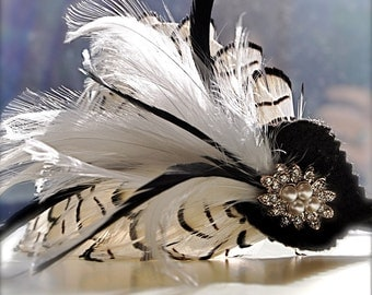 Black and white feather fascinator. Great Gatsby Art Deco Classic. Masquerade Ball.