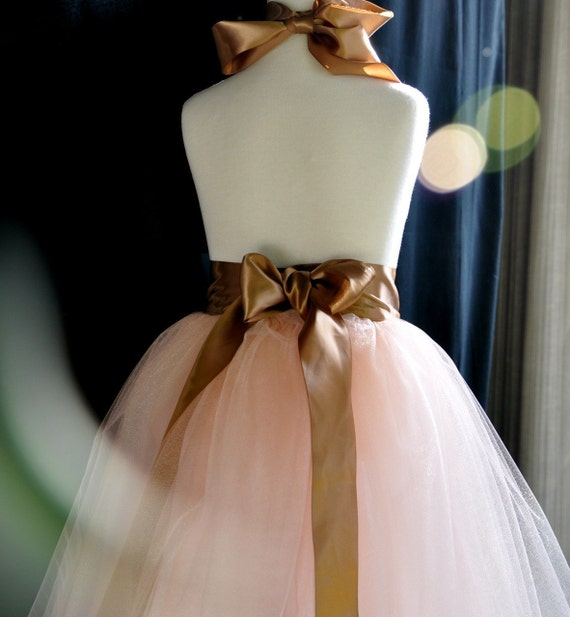 Vintage pink with cocoa ribbon adult tutu. Romantic tea length.