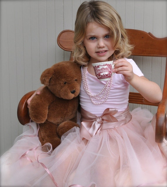 The Tea Party Tutu. New color for this ribboned style. Sewn, no knots, extra wide double ribbon waist ties in a bow in front or back.