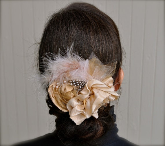 Cafe au Lait Silk Roses head piece. Pure silk, french netting and a pale toffee pearls on a lined clip.