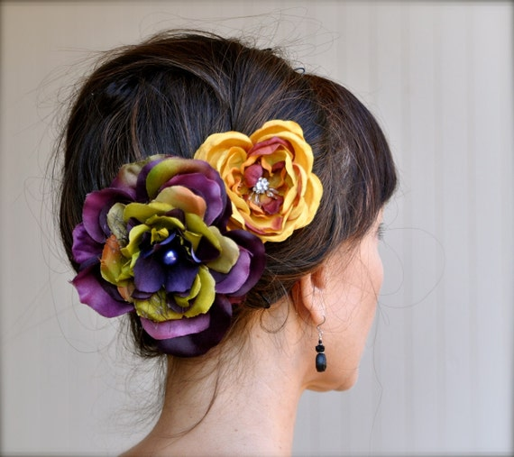 Fall Carnival Flower hair clips in deep purple, yellow, rust and olive greens. Medium and large flowers with pearl and rhinestone centers.