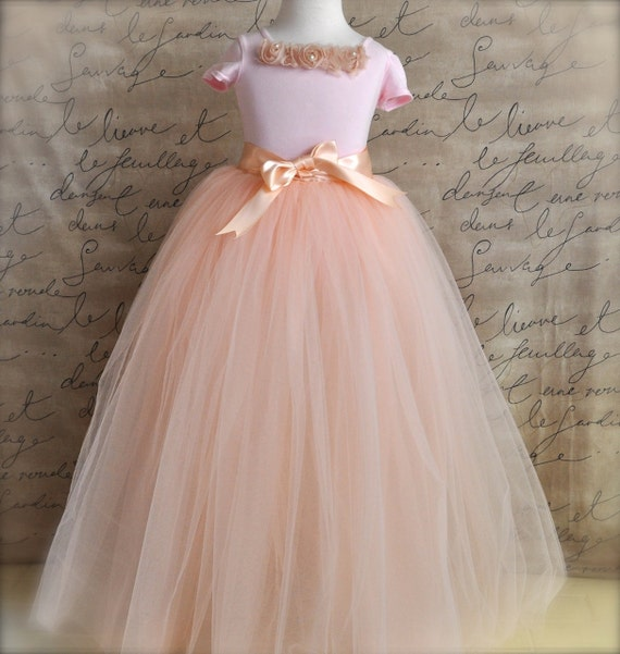 Vintage pink Flower Girl princess tutu-- blush pink tulle and ribbon.